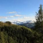 Bichlalm vor den schneebedeckten Hohen Tauern