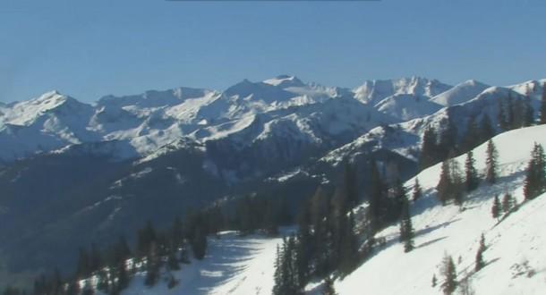 Blick von der Bergstation Harbach Richtung Süden und in die Berge des Nationalpark Hohe Tauern - Bild vom 21. 04. 2016