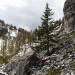 Mein Rastplatz an einem windgeschützten, schneefreien Fels
