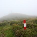 Aufstieg auf den Penkkopf, entfernt schon das Gipfelkreuz