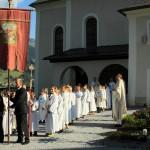 Abmarsch an der Pfarrkirche vor der Messeer Pfarrkirche