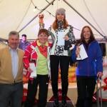 "Siegerinnen Gruppe ""rot"" 1. Iwona Kowalczeska, 2. Jasmin Zimmermann, 3. Luise Lidl mit Norbert Rohrmoser vom Hotel Auhof"