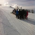 Skidooshuttle auf dem Weg Richtung Berg